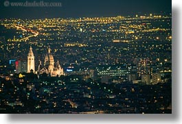 aerials, basilica sacre coeur, europe, france, glow, horizontal, lights, nite, paris, perspective, photograph