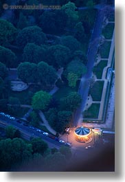 aerials, carouselle, dusk, europe, france, glow, lights, nite, paris, perspective, vertical, photograph