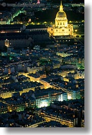 aerials, europe, france, glow, invalides, les, lights, nite, paris, perspective, vertical, photograph