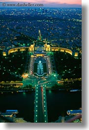 aerials, dusk, europe, france, glow, lights, palais de chaillot, paris, perspective, vertical, photograph
