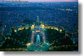 aerials, dusk, europe, france, glow, horizontal, lights, palais de chaillot, paris, perspective, photograph