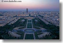 aerials, dusk, europe, france, horizontal, parc du champs de mars, paris, perspective, photograph