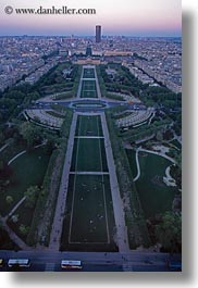 aerials, dusk, europe, france, parc du champs de mars, paris, perspective, vertical, photograph