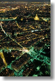 aerials, europe, france, glow, lights, nite, paris, perspective, vertical, photograph