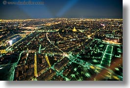 aerials, europe, france, glow, horizontal, lights, nite, paris, perspective, photograph