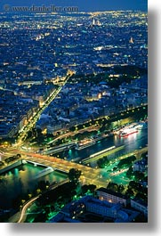 aerials, dusk, europe, france, glow, lights, nite, paris, perspective, pnt alma, rivers, seine, vertical, photograph