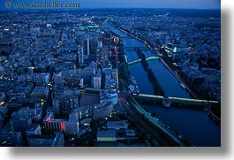 aerials, dusk, europe, france, horizontal, paris, perspective, rivers, seine, photograph
