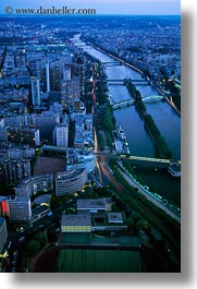 aerials, dusk, europe, france, paris, perspective, rivers, seine, vertical, photograph