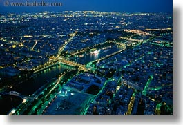 aerials, dusk, europe, france, glow, horizontal, lights, nite, paris, perspective, rivers, seine, photograph