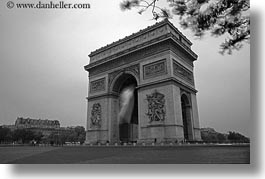 arc de triomphe, black and white, europe, france, horizontal, paris, photograph