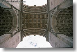 arc de triomphe, europe, fisheye, france, horizontal, paris, perspective, upview, photograph