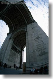 arc de triomphe, europe, fisheye, france, paris, perspective, upview, vertical, photograph