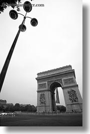 arc de triomphe, black and white, europe, france, lamp posts, paris, vertical, photograph