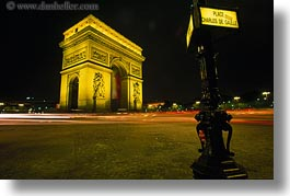 arc de triomphe, europe, france, horizontal, light streaks, lights, nite, paris, traffic, photograph