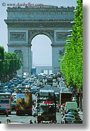 arc de triomphe, europe, france, paris, traffic, vertical, photograph