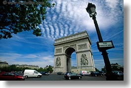 arc de triomphe, europe, france, horizontal, paris, traffic, photograph