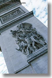 arc de triomphe, europe, france, paris, relief, statues, vertical, photograph