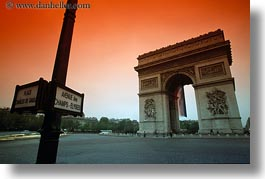 arc de triomphe, europe, france, horizontal, paris, sunsets, photograph