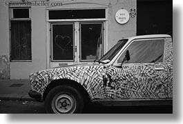 arts, black and white, cars, europe, france, hatched, horizontal, paintings, paris, photograph
