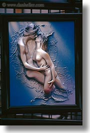arts, europe, france, kissing, lovers, paintings, paris, relief, vertical, photograph