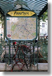 arts, bicycles, europe, france, mangled, map, metro, paris, vertical, photograph