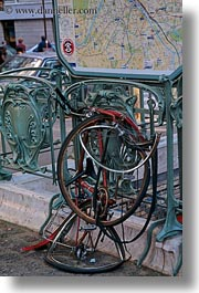 arts, bicycles, europe, france, mangled, paris, vertical, photograph