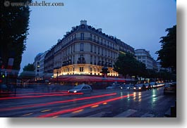 buildings, dusk, europe, fouquet restaurant, france, glow, horizontal, light streaks, lights, paris, traffic, transportation, photograph