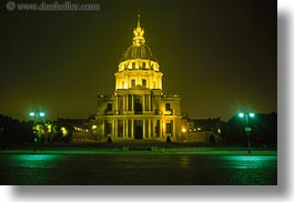 buildings, europe, france, glow, horizontal, invalides, les, lights, nite, paris, photograph
