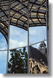 abstracts, arts, buildings, europe, france, paris, reflections, vertical, photograph