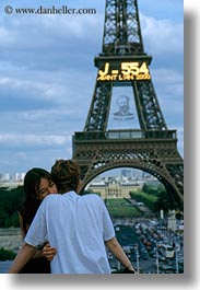 buildings, conceptual, couples, eiffel tower, emotions, europe, france, paris, romantic, structures, towers, vertical, photograph