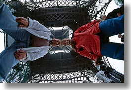 buildings, couples, dans, eiffel tower, europe, fisheye lens, france, horizontal, jills, paris, people, perspective, structures, towers, under, upview, photograph