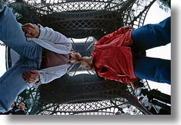 activities, buildings, conceptual, couples, dans, eiffel tower, europe, fisheye lens, france, horizontal, jills, kissing, paris, people, perspective, romantic, structures, towers, under, upview, photograph