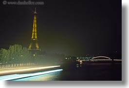 boats, buildings, eiffel, eiffel tower, europe, france, glow, haze, horizontal, lights, nature, nite, paris, rivers, structures, towers, water, photograph