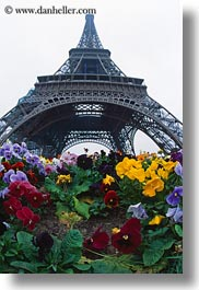 buildings, eiffel tower, europe, fisheye lens, flowers, france, haze, paris, perspective, structures, towers, upview, vertical, photograph