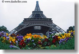 buildings, eiffel tower, europe, fisheye lens, flowers, france, haze, horizontal, paris, perspective, structures, towers, upview, photograph