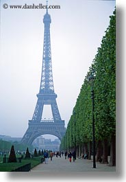 buildings, eiffel tower, europe, france, haze, hazy, paris, structures, towers, trees, vertical, photograph