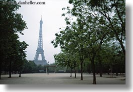 buildings, eiffel tower, europe, france, haze, hazy, horizontal, paris, structures, towers, trees, photograph