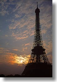 buildings, clouds, eiffel tower, europe, france, glow, lights, nature, paris, sky, structures, sunrise, towers, vertical, photograph