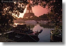 boats, buildings, eiffel tower, europe, france, glow, horizontal, lights, nature, paris, rivers, seine, structures, sunrise, towers, transportation, water, photograph