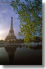 branches, buildings, clouds, eiffel tower, europe, france, nature, paris, plants, rivers, seine, sky, structures, sunrise, towers, trees, vertical, water, photograph
