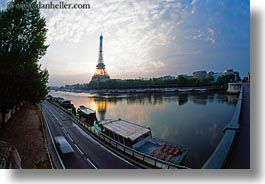 boats, buildings, clouds, eiffel tower, europe, fisheye lens, france, horizontal, nature, paris, rivers, seine, sky, structures, sunrise, towers, transportation, water, photograph