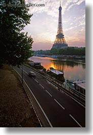 buildings, clouds, eiffel tower, europe, france, nature, paris, rivers, seine, sky, structures, sunrise, towers, vertical, water, photograph