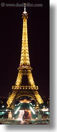 buildings, eiffel tower, europe, france, glow, light streaks, lights, nite, paris, structures, towers, traffic, vertical, photograph
