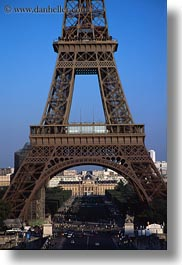 buildings, eiffel tower, europe, france, paris, structures, towers, traffic, vertical, photograph