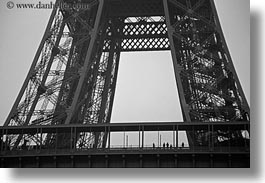 black and white, buildings, closeup, eiffel tower, europe, france, haze, horizontal, paris, steel, structures, towers, photograph
