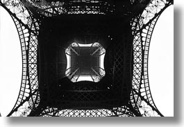 black and white, buildings, eiffel tower, europe, fisheye lens, france, horizontal, paris, perspective, structures, towers, upview, photograph