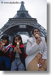 buildings, eating, eiffel tower, emotions, europe, fisheye lens, france, humor, ice cream, indians, paris, perspective, structures, towers, upview, vertical, photograph