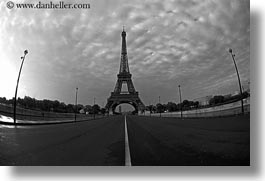 black and white, buildings, clouds, eiffel tower, europe, fisheye lens, france, horizontal, middle, nature, paris, sky, streets, structures, towers, photograph