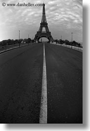 black and white, buildings, clouds, eiffel tower, europe, fisheye lens, france, middle, nature, paris, sky, streets, structures, towers, vertical, photograph