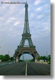 buildings, clouds, eiffel tower, europe, france, middle, nature, paris, sky, streets, structures, towers, vertical, photograph